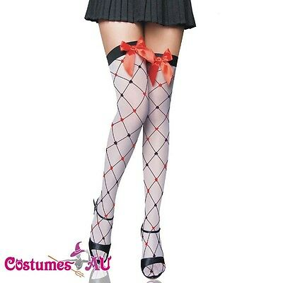 Lingerie Hosiery black red cross grid thigh high Stockings one size fits more