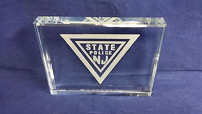 """NJSP New Jersey State Police Logo Glass Tile Block 4"""" Tall X 5"""" Wide X .75 Thick"""