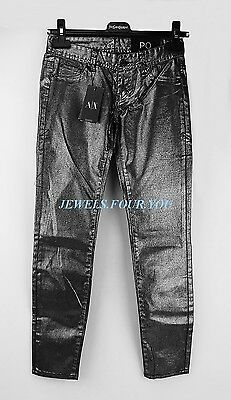 A/x Armani Exchange 98% Cotton Silver Gunmetal Womens Girls Jeans Size 00 New