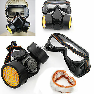 2Pcs Spray Pain Twin Cartridge Respirator Mask/goggles Paint Kit Fumes Kept Out