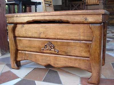 Wooden Blanket Box Coffee Table Trunk Vintage Chest Wooden Ottoman Toy Box (AS2)