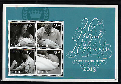 St Kitts 2013 MNH Birth Prince George Royal Baby 4v M/S William Kate Middleton