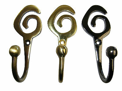 Curtain Tassel Hook Tie Back Nickel Antique Brass chrome, Brass Swirl Spiral x 2