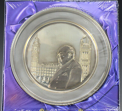 Sterling Silver Winston Churchill Plate Hour of Decision Signed Sarah Churchill