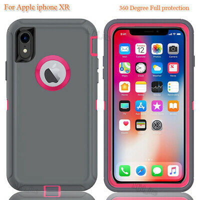 iphone Xr Defender Full protection Case Cover Fits Otter box Gray on Pink