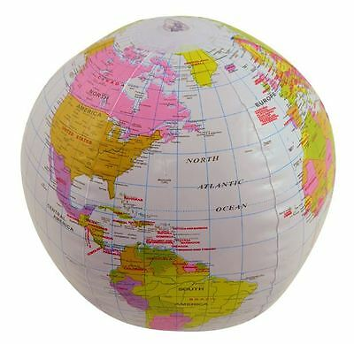 INFLATABLE GLOBE 40CM BLOW UP POOL BEACH BALL PARTY CHILDRENS KIDS TOY