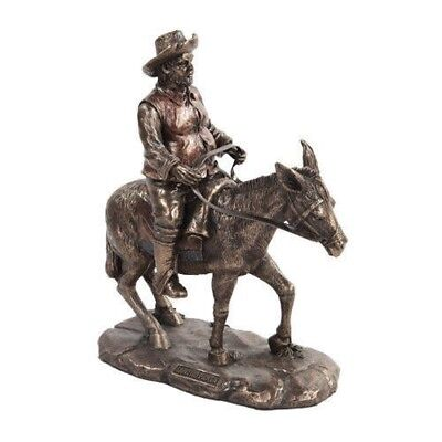 8 Inch Bronze Colored Sancho Panza Riding Donkey Figurine Statue