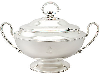 Sterling Silver Soup Tureen by J Sherwood & Sons- Antique Edwardian