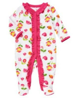 GYMBOREE BRAND NEW BABY BIRDS N FLOWER FOOTED ONE PIECE 3 6 9 NWT