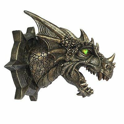 Medieval Castle Golden Dragon With LED Lighted Eyes Wall Plaque Lighted Lantern