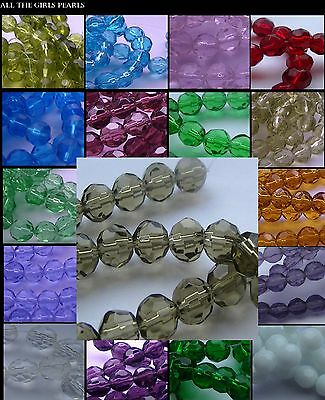 *CLEARANCE* Faceted Round Glass Beads. 3mm,4mm,6mm,7mm,12mm,14mm. *CLEARANCE*