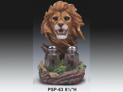"""King of The Jungle Lion Salt and Pepper Shakers Home Decor Figurine 8""""H Statue"""