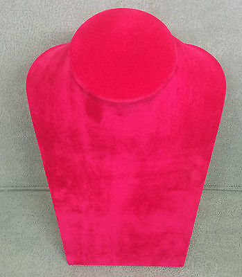 Lg Jewellery Display Bust in cerise pink Suedette