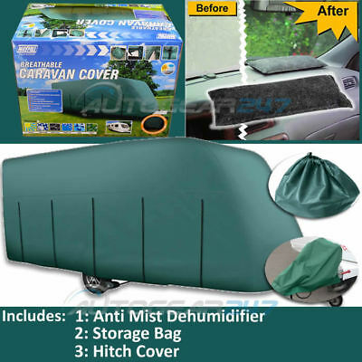 17-19ft Maypole MP9533 Green Breathable UV 4 PLY Caravan, Hitch Cover & Thomar