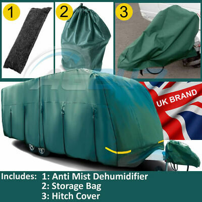 14-17ft Maypole MP9532 Green Breathable UV 4 PLY Caravan, Hitch Cover & Thomar