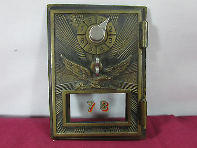 Vintage Post Office MailBox Door Eagle Sunburst Dial Combination Lock Brass NICE