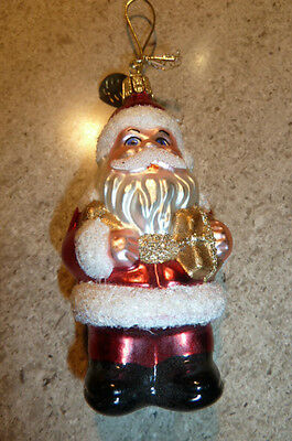 Hand Blown European Glass Santa  Christmas Ornament