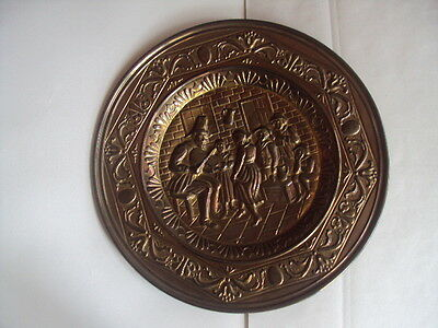 "Vintage large! Round Brass Wall Plaque 16 1/2"" Pub Dancing Scene.Excellent!"