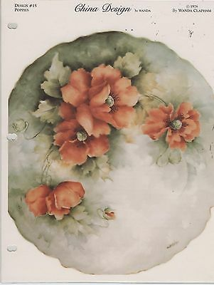 Poppies by Wanda Clapham  China Painting Study 1978