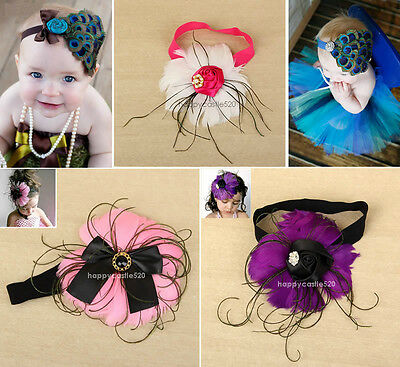 1pc Baby Girl Kids Toddler Infant Peacock Feather Hair Headband Band Accessories