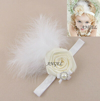 1pc Girl Baby Kids Toddler Feather Infant Headband Hair Band Accessories Ivory
