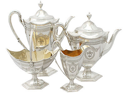 Sterling Silver Four Piece Tea and Coffee Set - Antique Victorian