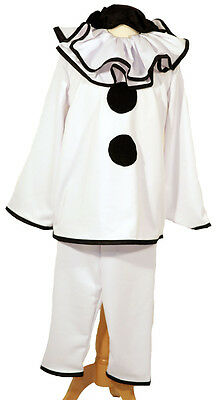 Circus-PIERROT BLACK & WHITE CLOWN Deluxe Unisex Costume  All Sizes & Childs