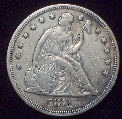 1871 SEATED LIBERTY SILVER DOLLAR VF+ XF Detailing Authentic *PRICED TO SELL* $1