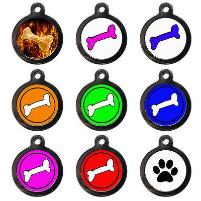 PET ID TAGS - Bone Design Paw Print Pet Tags -Tags for Dogs Cats- Engraved FREE
