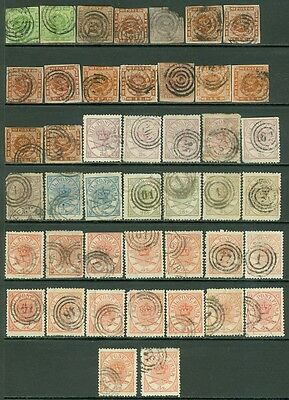 DENMARK : Large grouping of 19th Century. Many shades & interesting cancels.