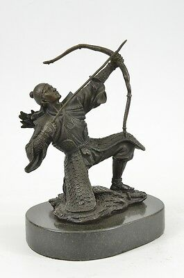 Signed Kamiko Chinese Archer w/ Longbow & Arrow Real Bronze Sculpture Figurine