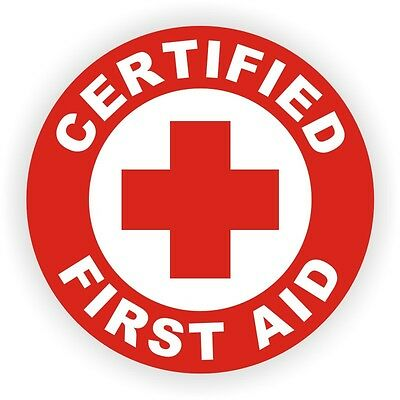 Certified First Aid Hard Hat Decal / Helmet Sticker Safety Label AED CPR EMT USA