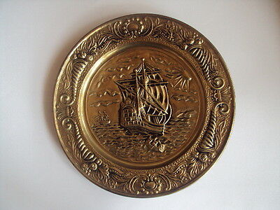 "Vintage large! Round Brass Wall Plaque 14 1/4"" England Ship. Excellent!"