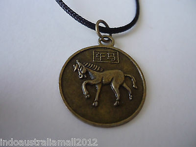 Chinese Zodiac Bronze Metal Horse and Quanyin Pendant  on Black Cord