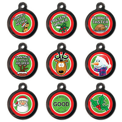 Fun Cute Christmas Festive Pet Dog Cat ID Tag Pet Tags - Engraved FREE