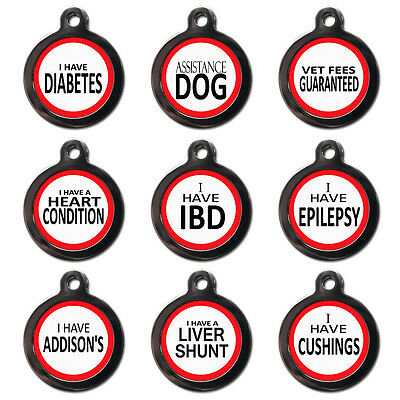 Medical Alert PET TAGS Diabetes Heart Cushings Addisons Assistance-ENGRAVED FREE