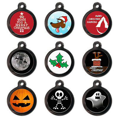 Christmas Holiday Personalised Dog Cat Name ID Tag Pet Tags - Engraved FREE