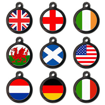 FLAG PET TAGS - Union Flag - Pet Dog Cat Name ID Tag Pet Flag Tags-Engraved FREE