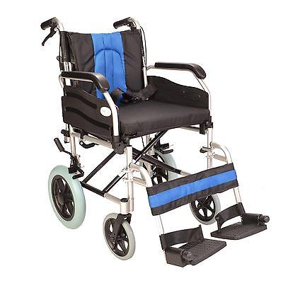 Lightweight deluxe folding transit aluminium travel wheelchair w/ brakes ECTR02