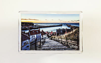 Fridge Magnet, Whitby at Twilight, 199 Steps, Yorkshire Coast, WH02