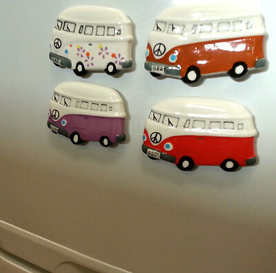 Camper Van Fridge Magnet - Hand Painted - Ceramic Pottery
