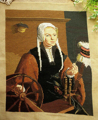 """Antique large 24"""" Vtg COMPLETED Needlepoint canvas Tapestry ART~ Weave Lady"""