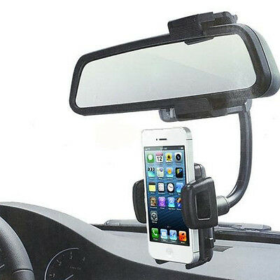 Universal 360° Car Rearview Mirror Mount Holder Stand Cradle For Cell Phone GPS
