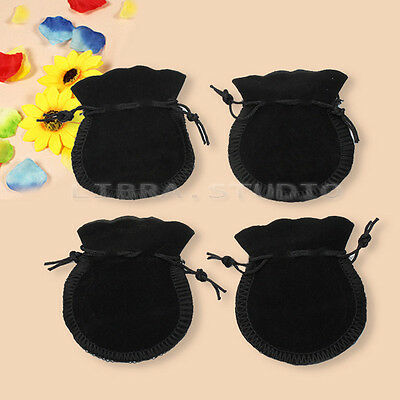 Cute 20 Pcs Black Packing Velvet Drawstring Jewellery Gift Pouch Bag Storage Hot