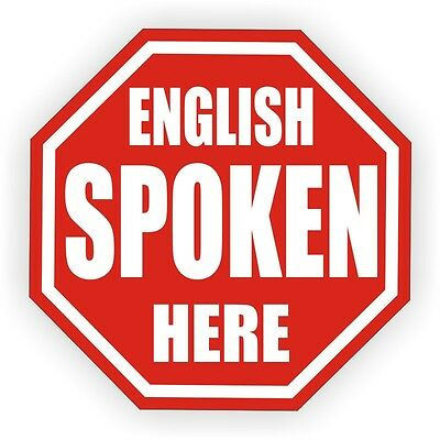 English Spoken Here Hard Hat Decal Helmet Sticker Label Sarcastic Laborer Funny