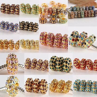 Wholesale Crystal Rhinestone Rondelle Golden European Beads Fit Charms Bracelet