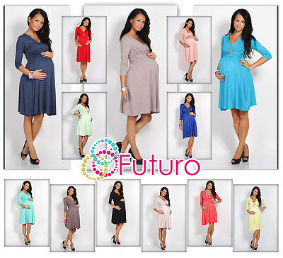 Sensible Women's Maternity Dress 3/4 Sleeve V-Neck Pregnancy Sizes 8-16 4400