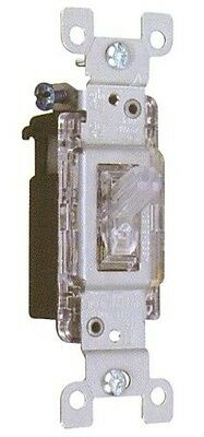 Lighted Quiet Clear Wall Toggle Switch 15A 120V Single Pole / 3 Way