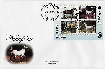 Niuafo'ou Tonga 2014 FDC Year of Horse 4v M/S Cover Zodiac Lunar New Chinese