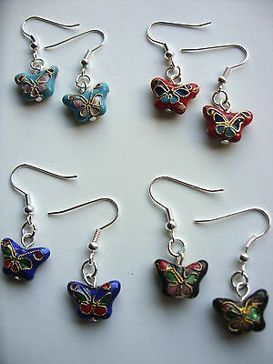A Pair of  Classic Chinese Cloisonne Butterfly Drop Dangling Earrings